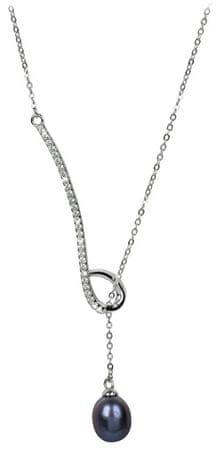 JwL Luxury Pearls Gwintowania naszyjnik srebrny z metalicznym niebieskim perła i cyrkonią JL0242 srebro 925/1000
