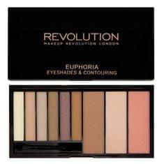 Makeup Revolution Paletka očných tieňov a kontúrovacej sada Euphoria (Eye Shades & Contouring) 18 g