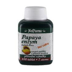 MedPharma Papaya enzym – cucavé pastilky bez cukru s příchutí broskve 100 tbl. + 7 tbl. ZDARMA