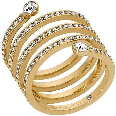 Michael Kors Aranyozott nemesacél gyűrű kristályokkal MKJ4722710 (Kerület 54 mm)