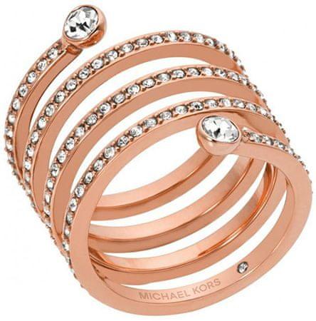 Michael Kors Powleczone pierścień stalowy z kryształów MKJ4724791 (obwód 54 mm)
