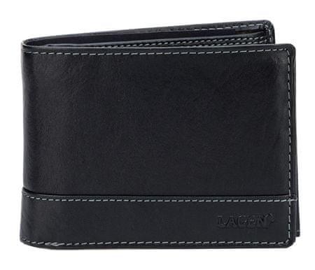 Lagen Férfi fekete bőr pénztárca fekete V-76 / T