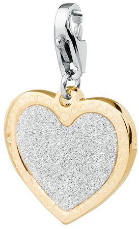 S'Agapõ Romantikus szerencse csillogó szív medál SHA19