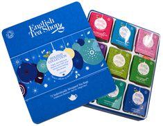 English Tea Shop Darčeková plechová kazeta Modrá - Vianočný modré ozdoby BIO 72 sáčkov / 9 príchuťou