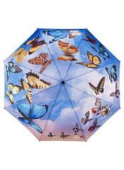 Blooming Brollies Dámsky skladací plne automatický dáždnik Galleria Swirl ing Butterflies GBFSB