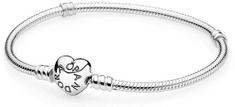 Pandora Srebrna zapestnica s pritrditvijo v obliki srca 590719 srebro 925/1000