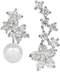 JwL Luxury Pearls Aszimmetrikus fülbevaló - igazgyöngy és cirkónia díszítéssel JL0260 ezüst 925/1000