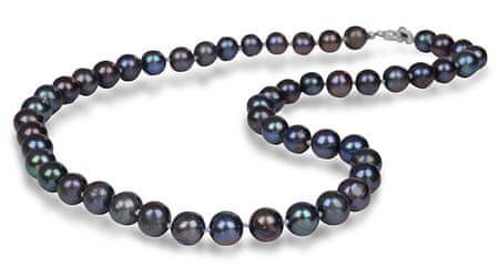 JwL Luxury Pearls Náhrdelník s pravými kovově modrými perlami JL0265 stříbro 925/1000