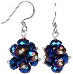 JwL Luxury Pearls Žiarivé náušnice z brúsených tmavomodrých kryštálov JL0270 striebro 925/1000
