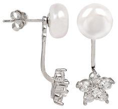 JwL Luxury Pearls Ezüst dupla fülbevaló fehér igazgyönggyel és virág alakú cirkónia kristállyal JL0281 ezüst 925/1000