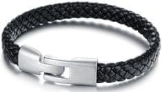 Troli Czarna męska bransoletka pleciona Leather