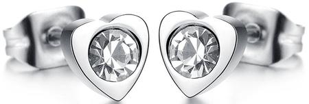 Troli Drobni uhani iz srca s kristalom