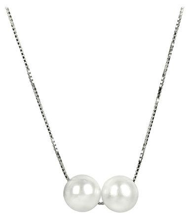 JwL Luxury Pearls Srebrna ogrlica z dvema resničnima biseroma JL0284 srebro 925/1000