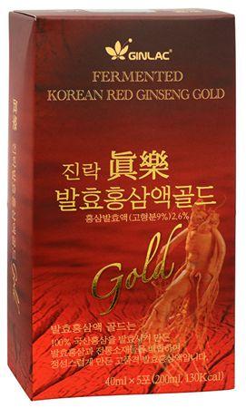 GINLAC Fermented Red Ginseng Power Drink GOLD - ženšenový nápoj 5 x 40 ml