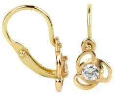 Brilio Dětské zlaté náušnice s čirým krystalem 236 001 00950 zlato žluté 585/1000