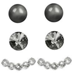 Levien Náušnice Set Ear Cuff 4 v 1 Silver CSN-Dark Grey
