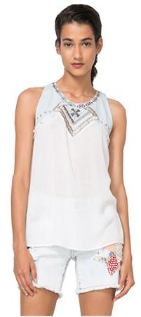 Desigual Bluzka damska bluse Nati 74B2JD0 1015 (rozmiar XS)