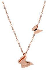 Troli Růžově pozlacený motýlí náhrdelník Metal Butterfly KNSC-257-RG