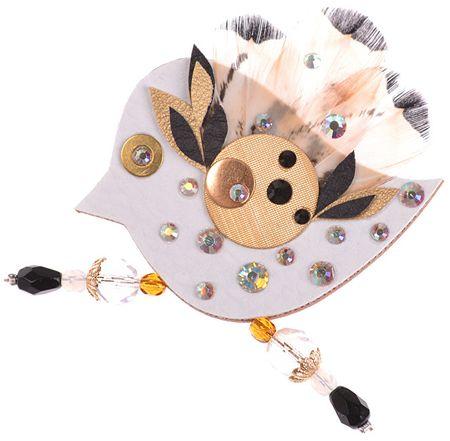 Petra Švarcová Elegantní brož s pravým peřím Pták