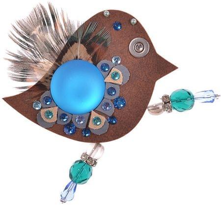 Petra Švarcová Brązowy broszka z prawdziwych piór i niebieskim ptakiem kamienia