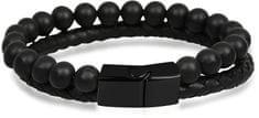 Troli Černý pánský náramek z kůže a korálků Leather