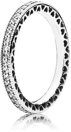 Pandora Ljubezen prstan s kristali 190963CZ (Obseg 58 mm) srebro 925/1000