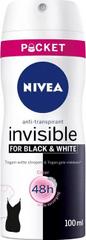 Nivea Antyperspirant spray niewidzialny czarno-biały bezbarwny mini (100 ml) antyperspiracyjnego