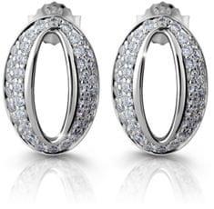 Modesi Csillogó ezüst fülbevaló cirkónia kővel M25008 ezüst 925/1000