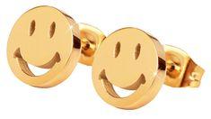 Troli Aranyozott nemesacél fülbevaló Smiley KE-002