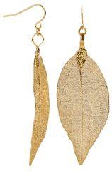 Troli Pozłacane kolczyki liści laurowych Laurel