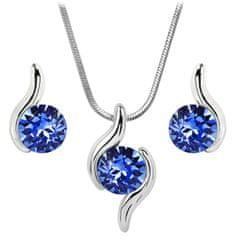 Troli Sada náhrdelníka a náušníc Chaton Wave Sapphire