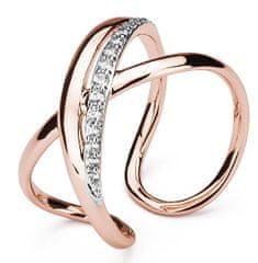 Brosway Otevřený bicolor prsten se zirkony Ribbon BBN32