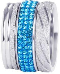Preciosa Set treh slojevitih obročev v srebrni in modri barvi 7305 70