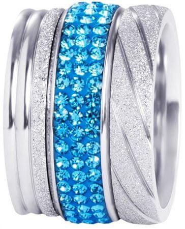 Preciosa Három darabos kék és szürke színű gyűrű szett 7305 70 (áramkör 53 mm)