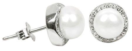 JwL Luxury Pearls Kristályokkal díszített ezüst igazgyöngy fülbevaló JL0290 ezüst 925/1000