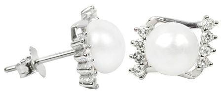 JwL Luxury Pearls Srebrne kolczyki z perłami i kryształami prawo JL0292 srebro 925/1000