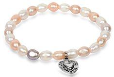 JwL Luxury Pearls Jemný náramok z pravých perál s kovovým srdiečkom JL0293