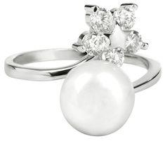 JwL Luxury Pearls Ezüst gyűrű igazgyönggyel és tiszta kristállyokkal JL0322 ezüst 925/1000