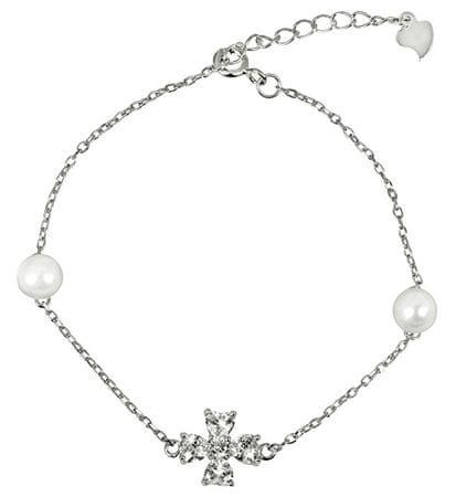 JwL Luxury Pearls Ezüst karkötő igazgyönggyel és kristállyal JL0314 ezüst 925/1000