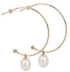 JwL Luxury Pearls Aranyozott félkarika fülbevaló igazgyönggyel JL0298 ezüst 925/1000