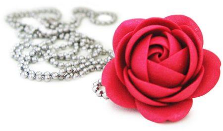 Troli Rubinowy naszyjnik w kwiatki