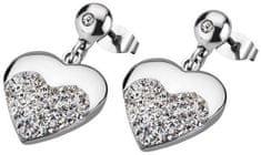 Lotus Style Szív nemesacél fülbevaló kristályokkal LS1769-4/1