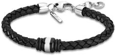 Lotus Style Fekete színű bőr karkötő LS1814-2/5