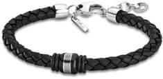 Lotus Style Černý kožený náramek LS1814-2/6