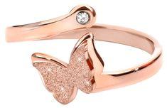Troli Romantický bronzový prsteň s motýlikom