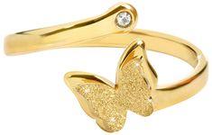 Troli Romantický pozlátený prsteň s motýlikom