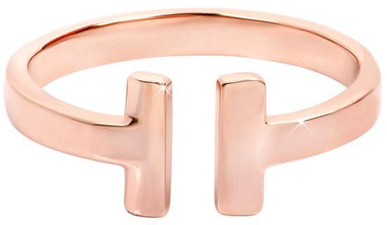 Troli Otvorený ružovo pozlátený prsteň z ocele (Obvod 54 mm)