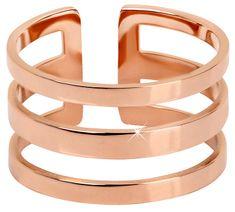 Troli Štýlový trojitý prsteň z ružovo pozlátenej ocele