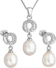 Evolution Group Piękny komplet perłowy z cyrkoniami Pavon 29003.1 biały srebro 925/1000