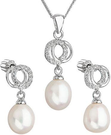 Evolution Group Překrásná perličková sada se zirkony Pavona 29003.1 bílá (náušnice, řetízek, přívěsek) stříbro 925/1000